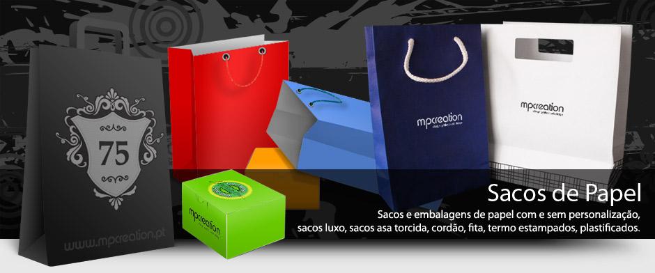 Sacos e embalagens de papel personalizados.