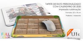 Tapete de Rato Personalizado com Calendário de 2020