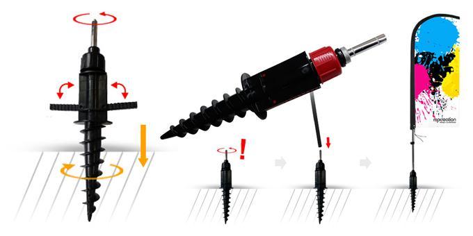 Base de Rosca PVC com rotador para Bandeira publicitárias