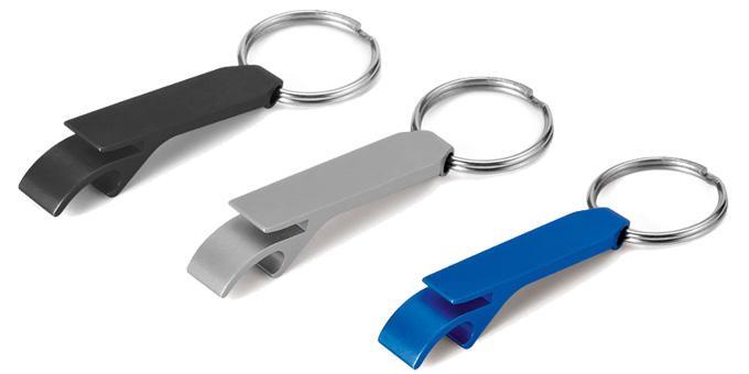 Porta-Chaves com abre-cápsulas em alumínio.