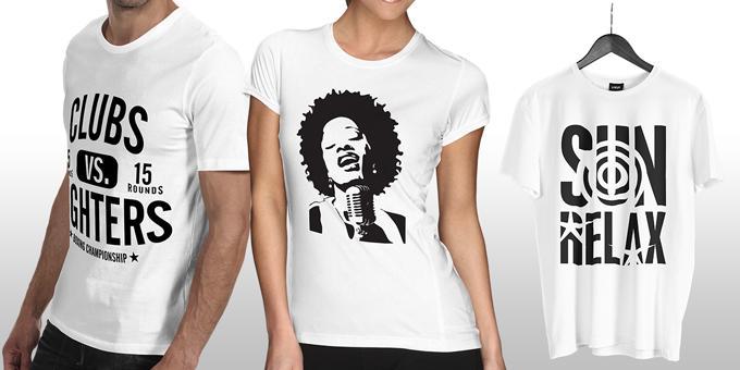 T-Shirts brancas personalizadas c/ vinil Flex