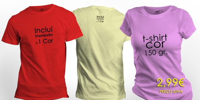 T-Shirts de cor personalizadas 150 grs.