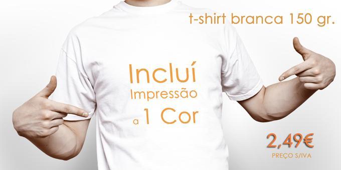 T-Shirts brancas personalizadas 150 grs.